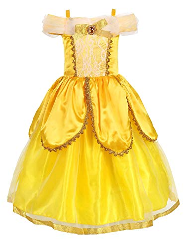 Prinzessin Kind Kostüm Deluxe - EUSupermarket Mädchen Prinzessin Kostüm Belle Kostüm Kinderkleider Mädchen Tutu Kleid PartyKostüm Deluxe Party Fancy Dress Up YellowTwo 4 Years