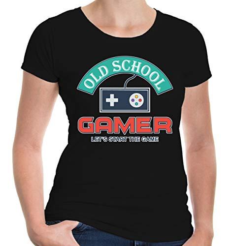 Kostüm Geeks Freaks Halloween Und - buXsbaum® Damen Girlie T-Shirt Old School Gamer   Zocken   L, Schwarz