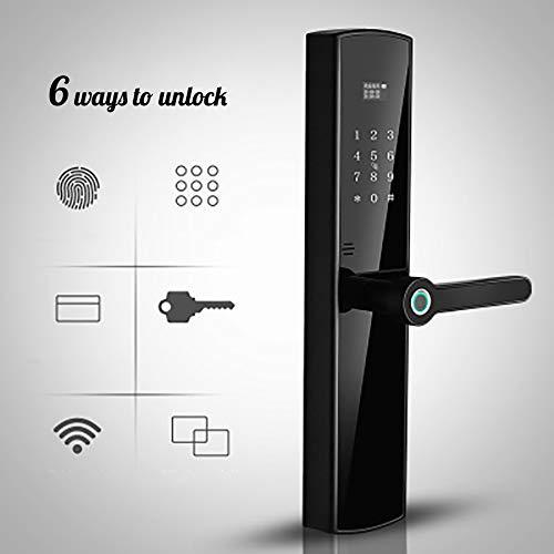 Preisvergleich Produktbild SFXYJ Intelligente Türverriegelung,  6 Entsperrungsmethoden,  Vollautomatische Digitale Tastatursperre Biometrische Fingerabdruck-Elektronikschlösser,  Türschloss für Haussicherheit(Links)