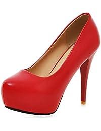 TAOFFEN Mujer Zapatos Western Tacon De Aguja Plataforma Sin Cordones Tacon Alto Bombas