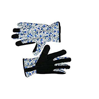 Leather Gardening Gloves, with Thorn Proof Garden Gauntlet for Ladies with Short Polyester Print Floral to Protect Your hands CYST24 (M)