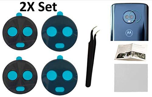 2 x Ersatz-Rückkamera-Glaslinsenabdeckung + Werkzeug + Anleitung mit Tipps + Kleber vorinstalliert + gehärtetes Glas + Reinigungstuch für Motorola Moto X4 (jeder Träger) (X Moto Ersatz-glas)