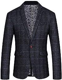 dff9ef18d711b Vinyst Men Lapel Tuxedo One Button Casual Classic Plaid Blazer Jacket