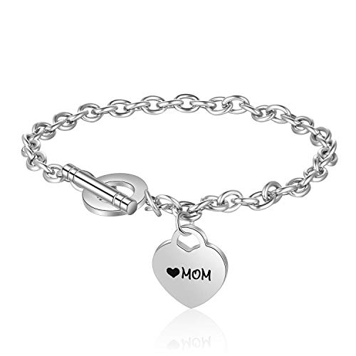 Gkmamrg Damen Armband mit Gravur Rosegold, Edelstahl Kugel dopplte Herz Anhänger Perlenkette Armkette Armreif mit Fußkette Panzerarmband (MOM Silber) -