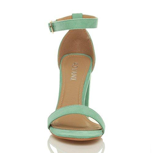Femmes haute large talon chaussures bout ouvert sandales à lanières pointure Menthe verte daim