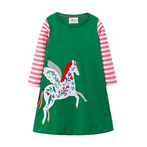 Kleid Mädchen Herbst Rundhalsausschnitt Langarm Cute Casual Baumwolle l Dress Cartoon Einhorn Applique T-Shirt Kleid/6T -
