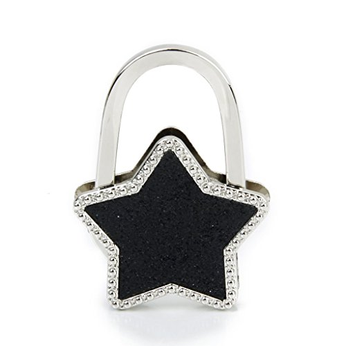 Geldboerse Hanger - SODIAL(R) Tabelle Sterne faltbare Geldboerse Hanger Handbag Haken Taschenhalter (Schwarz) (Geldbörse Haken)
