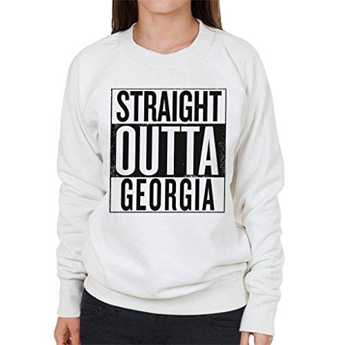 Black Text Straight Outta Georgia US States Womens Sweatshirt white