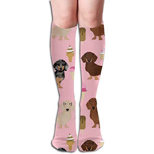 (Dackel Doxie Mixed Ice Cream Komfortable Erwachsene Kniehohe Socken Turnhalle Outdoor Socken 50 cm, 19,7 Zoll)