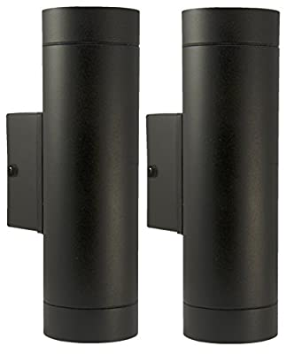 2 X Black Stainless Steel Double Outdoor Wall Light IP65 Up/Down Outdoor Wall Light ZLC019B - low-cost UK light shop.