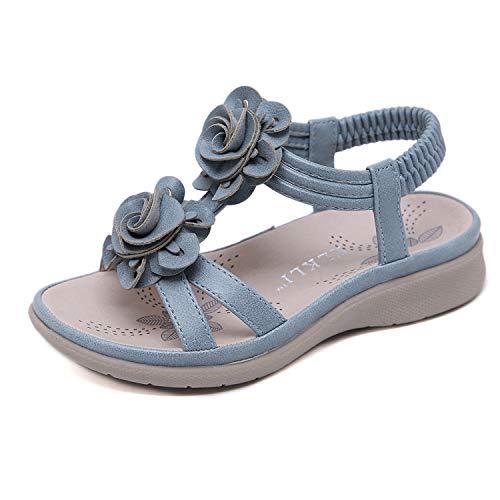 Kinder Mädchen Sommerurlaub Pailletten Blume Sandalen Flip Flops Schuhe, Blau Innenlänge 17,6 cm = 25EU (Kleinkinder Sandalen Für Gladiator)