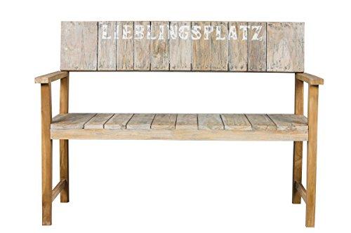 2er Bank Lieblingsplatz rustikal Teakholz Teakbank Massivholz Holzbank Gartenbank 120 cm breit Sitzbank - 3