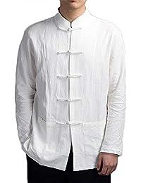 31fc5ef33eca6 Tang Traje Hombres Tradicional Chino Ropa Trajes Hanfu Algodón Camisa De  Manga Larga Abrigo De Los