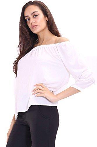 K01 Nouvelles Femmes Épaule Découverte Mousseline De Soie T-shirt Haut Chemisier En Grande Taille 08-26 Crème & blanc