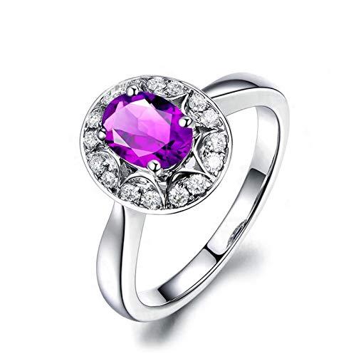 KnSam Ring 925 Silber Damen Hochzeitsringe Echt Amethyst Jahrestag Rund Trauring Geschenk für Frauen Mutter Gr.63 (20.1) Modeschmuck