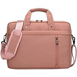LOSORN ZPY 13-17 Zoll Laptop Tasche mit Schultergurt Aktentasche für Laptop / Notebook Computer / MacBook (17 Zoll, Rosa)