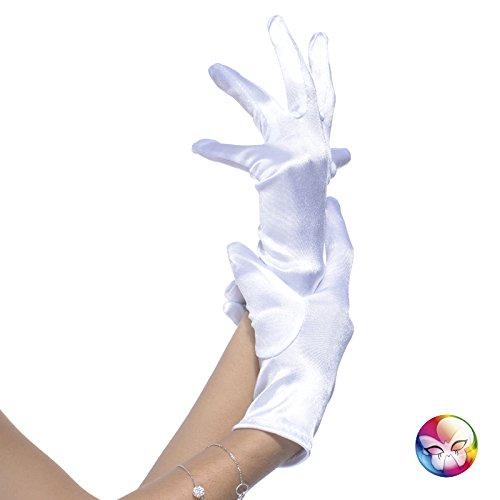 Aptafêtes–ac0873/weiß–Handschuhe Satin elastisch weiß–Größe 22cm
