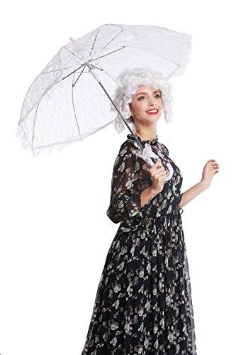 DRESS ME UP YS-005W Parasol Spitze Sonnenschirm Barock Rokoko Viktorianisch Biedermeier Weiß Gothic...