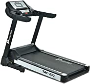 Powermax Fitness Unisex Adult TAC-230 2HP AC Motor (4HP Peak) Motorized Treadmill For Home - Black, Medium