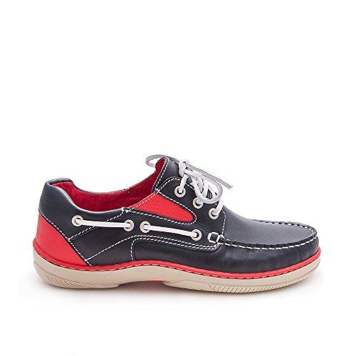 Chaussure pour homme en cuir avec semelle en caoutchouc flexible. 100% cuir premium. Doublure intérieure. Marine rouge