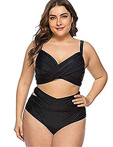 FeelinGirl Damen Mesh Badeanzug Zweiteilig Badeanzüge Elegantes Sportlich Tankini Set Bikini Bademode Plus Size XL Schwarz