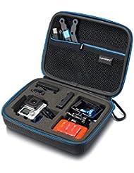 Case Sup160 Supremery pour GoPro Hero 4 / 3+ / 3/2/1, SJ4000 SJ5000 SJ6000, Case Cover Case Xiaomi Yi pour la caméra, le logement, LCD, batterie, carte SD et accessoires (taille: XL, compartiment utilitaire avec fermeture éclair et sangle) noir-bleu