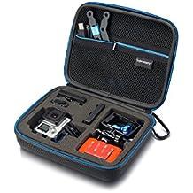 Caso Sup160 Supremery para GoPro héroe 4/3 + / 3/2/1, SJ6000 SJ4000 SJ5000, caso de la cubierta del caso de Xiaomi Yi para la cámara, la vivienda, LCD, batería, tarjeta SD y accesorios (tamaño: XL, compartimento de servicio con cremallera y correa) negro-azul