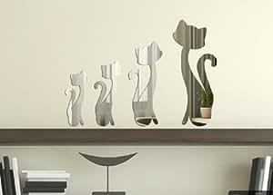 Miroir acrylique autocollant, autocollant Chats Miroir, Donnez votre mur ordinaire d'une voix Nice, Concevez votre maison- M005