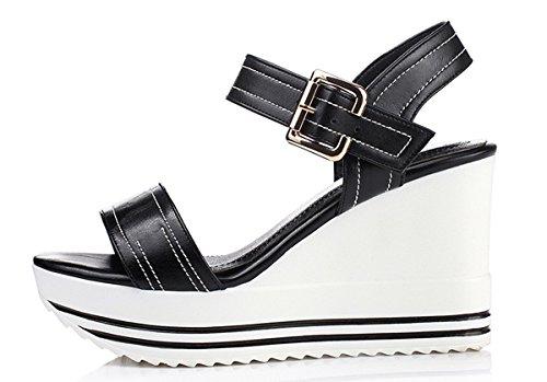 YE Open Toe 9CM Keilabsatz Plateau High Heels Damen Sommer Riemchen Leder Sandalen Schuhe mit Schnalle Schwarz