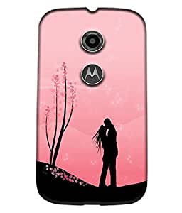 Fuson Love Couple Back Case Cover for MOTOROLA MOTO E2 - D4012