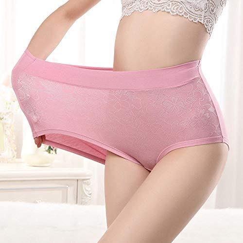 JFHGNJ Plus Size High Waist Panties für Frauen Unterwäsche Damen Modal Slips Big Size Floral Elastic Large Size Cotton Panties Weiblich-Dunkelviolett_XXXL - 4