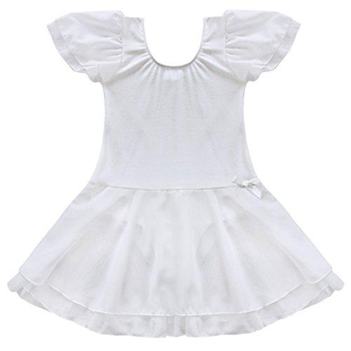 Tiaobug Kinder Mädchen Kurzarm Ballettkleid Ballettanzug Turnanzug mit Röckchen Weiß (Weiß Tutu Mädchen)