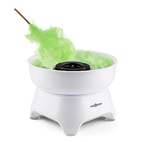 oneConcept Candycloud - Machine à barbe à papa Cotton Candy maker pour fêtes, anniversaires, puissance 500W (grand récipient 29cm Ø, batonnet inclus, adapté lave-vaisselle) – blanc