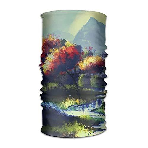 Jieaiuoo Headwear Headband Painted Landscape River Head Scarf Wrap Sweatband Sport Headscarves For Men Women - Pre-painted Kit