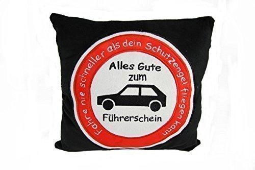 Plüschkissen Kissen Autokissen Führerschein Spruchkissen \'Fahre nie schneller......\'schwarz