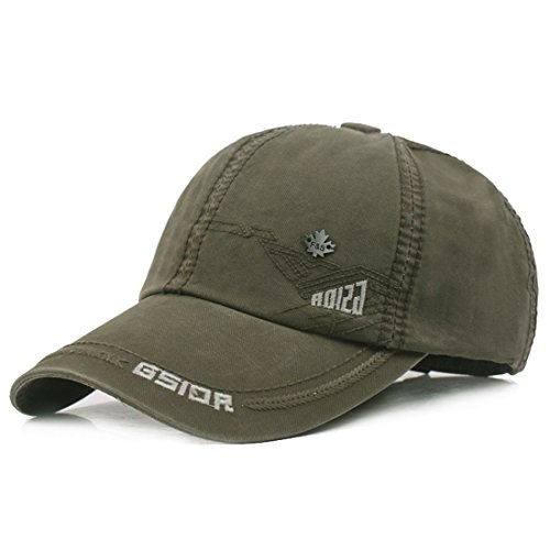 Kuyou Vintage Cotton Basecap Snapback Caps Outdoor Baseball Kappe Mütze (Armeegrün)