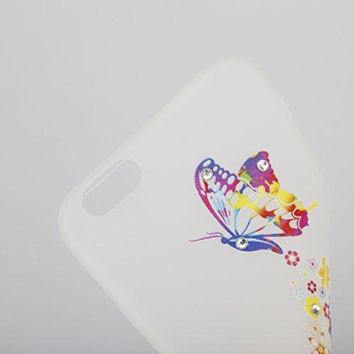 Coque Housse Etui pour iPhone 6 Plus/6S Plus, iPhone 6S Plus Coque en Silcone avec Bling Diamant, iPhone 6 Plus Coque Noctilucent Souple Slim Etui Housse, iPhone 6 Plus/6S Plus Silicone Case Soft Gel  Fleurs