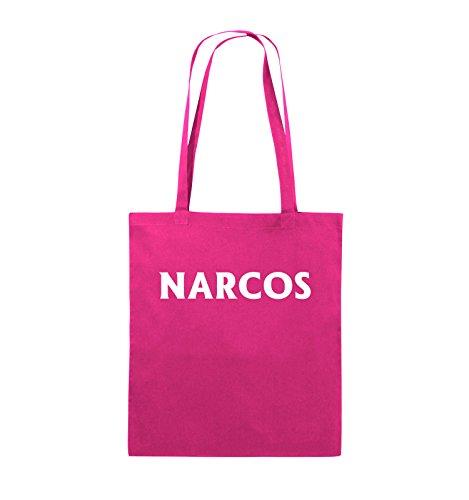 Comedy Bags - NARCOS - LOGO - Jutebeutel - lange Henkel - 38x42cm - Farbe: Schwarz / Pink Pink / Weiss