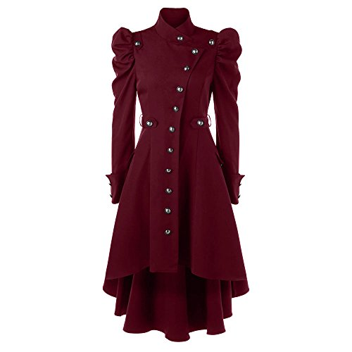 CharMma Damen Mantel Vintage Puff Schulter Single Breasted Dip High Low Hem Trenchcoat (Rot, M) (Vintage Mantel)