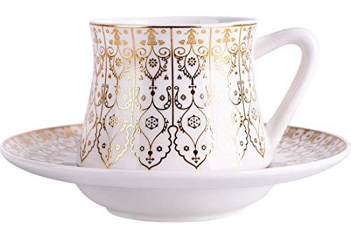 Almina | 12 Teilig | Türkisches Kaffeetassen-Set | Mokkatassen | Porzellan | 75ml | Weiß | Gold |