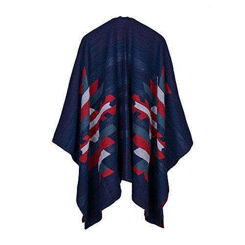 Femme Poncho Tricot Élégant Ouverture Chaud Echarpe Mode Châle Automne Veste Manteau Beunique Couleur 1
