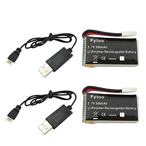 Fytoo 2PCS 3.7V 300mAh Lipo Batería y Cable de USB para JJRC H8 H22 Eachine H8 Mini RC Quadcopter Repuestos