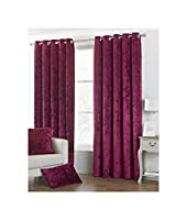 """DEEP Pile Crushed Velvet Wine RED Lined 46"""" X 54"""" - 117CM X 137CM Ring TOP Curtains from Curtains"""