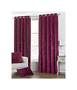 """DEEP Pile Crushed Velvet Wine RED Lined 90"""" X 90"""" - 229CM X 229CM Ring TOP Curtains by Curtains"""