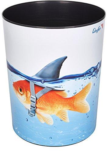 Läufer 26660 Motiv-Papierkorb Goldhai Fisch, 13 Liter Mülleimer, perfekt für das Kinderzimmer, rund, stabiler Kunststoff