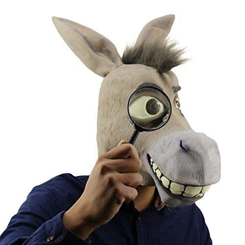 YEARYOWN Deluxe Neuheit Halloween Kostüm Party Latex Tier Esel Kopfmaske (Skelett Für Erwachsene Kostüm Deluxe)