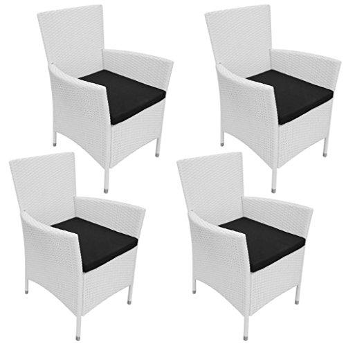 Festnight 4 Stk. Set Gartenstuhl Polyrattan Essstuhl Gartenstühle Stuhl-Set Sitzgarnitur Cremeweiß für Garten oder Terrasse