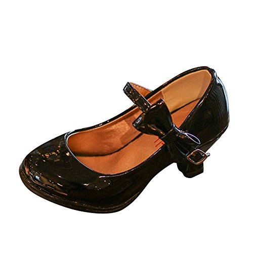 MISSMAOM Ragazze Scarpe Bambini o Damigella Starppy Mary Jane Stile Scarpe Corte Blocco Basso Tacco Velcro Partito Formale Abito da Sera Sandali Nero 32