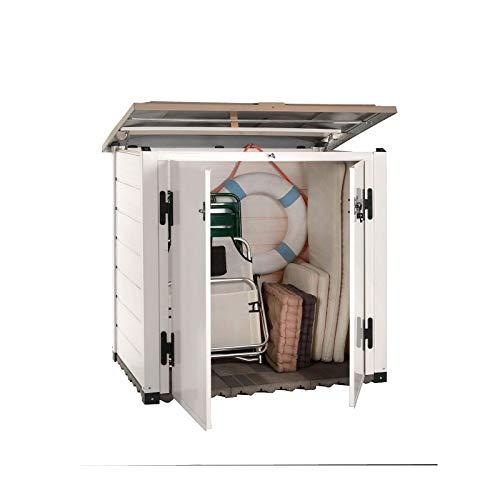 Gardiun KSP38260 - Arcón de Resina Garden Box Tuscany 100, 88 x 131 x 133 cm, Blanco/Beige