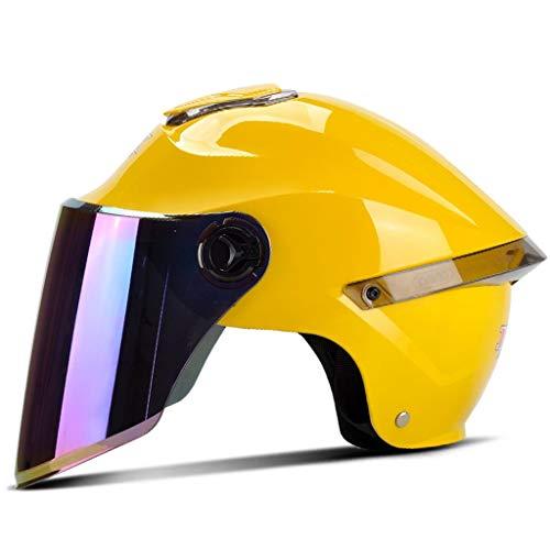 ZJJ Helm- Modischer Unisex-Helm, modischer Regen- und UV-Schutzhelm, Bunte Lange Linse (Farbe : Gelb, größe : One Size)